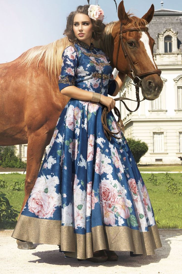Show details for Floral printed long anarkali suit in blue