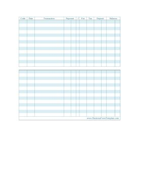 Keep track of your payment transactions with this printable check register with blue lines. Free to download and print
