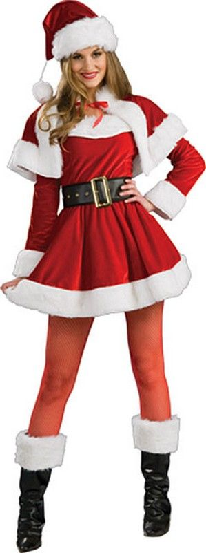 Women's Santa's Helper Costume you get: the long sleeve dress, half cape, belt, hat and boot tops. a nice, traditional Christmas costume for ladies. $52.40 Christmas costumes