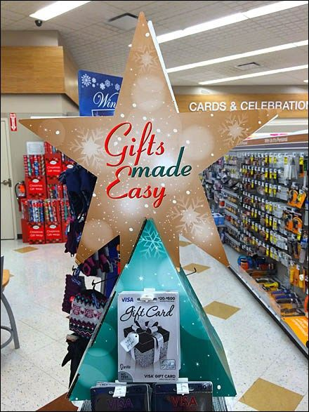 147 best gift card merchandising and fixtures images on pinterest a corrugated tree as temporary point of purchase offers convenient gifting via butterfly hooked gift cards white plastic as the hook materials negle Choice Image