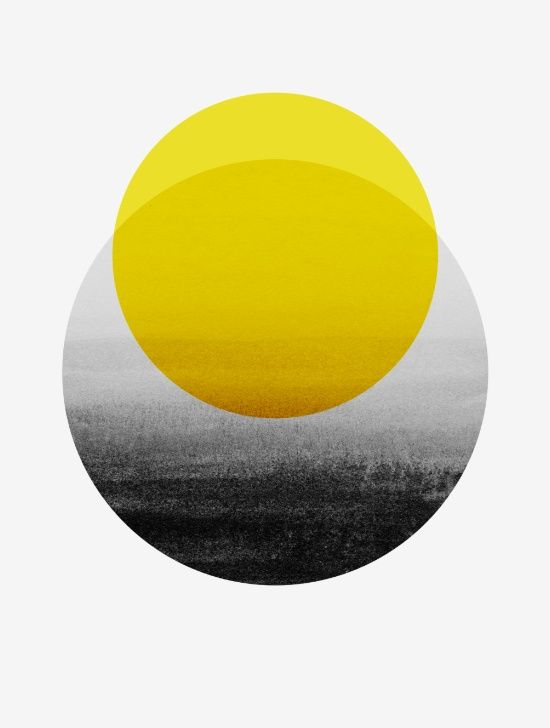 Available for purchase  Sunrise Art Yellow Black and White Grey Scale Minimal Minimalist Modern Classic Circles Shapes Simple Sleek Cool Elegant Fancy Abstract