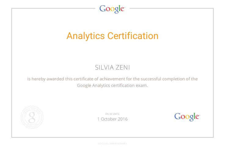 La mia certificazione Google Analytics  #googlepartners #googleanalytics #marketing #webanalytics