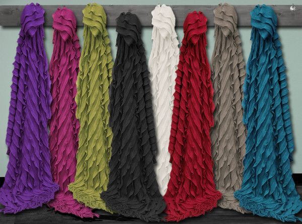 CASCADE COLLECTION  $39.99 Lightweight and airy, Cascade throws feature a ruffled and layered design with a fringed edge.
