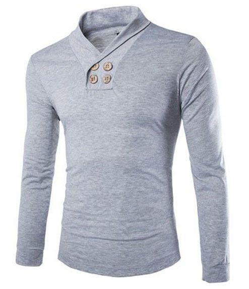 Men Long Sleeved Slim Fit Fashion T-Shirts, Grey, Red, Navy Blue Tshirts