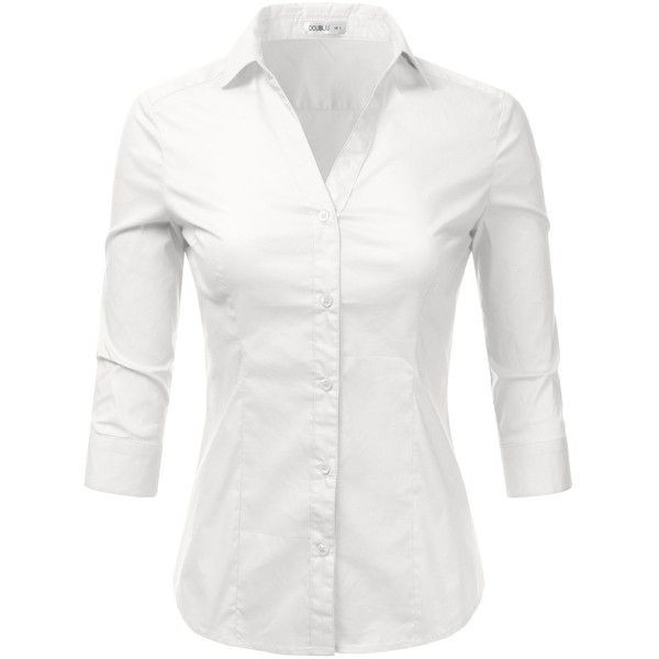 Doublju Basic 3/4 Sleeve Cotton Button Down Collared Shirts For Women... ($19) ❤ liked on Polyvore featuring tops, plus size shirts, button-down shirt, white button down shirt, white 3 4 sleeve shirt and plus size womens shirts