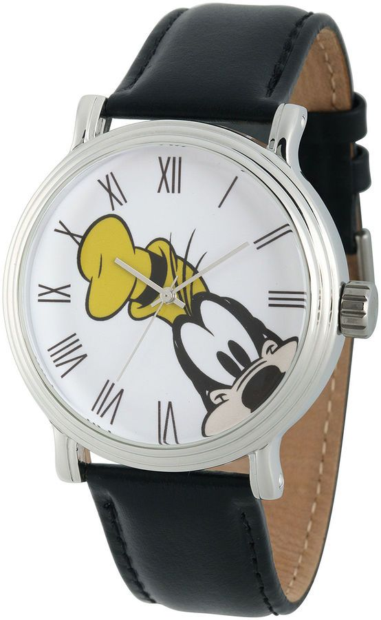 DISNEY Disney Collection Mens Vintage Goofy Black Leather Strap Watch. This reminded me of my childhood and I had to share it #affiliate