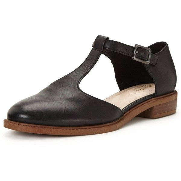 Clarks Taylor Palm Flat T Bar Shoe (235 RON) ❤ liked on Polyvore featuring shoes, flats, t strap shoes, t-strap flats, black t strap shoes, clarks flats and black flats