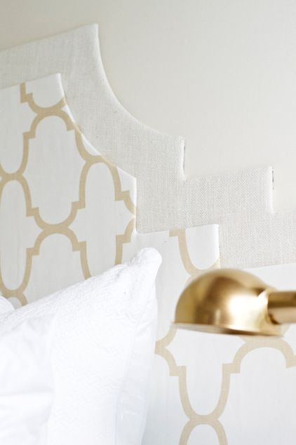 2D headboard - high-end look for less - uses cardboard, batting, fabric and glue!