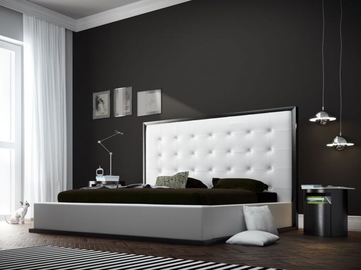 Extra Tall Headboards for Bold Sleeping Area : Minimalist Bedroom With Black Wall Covering Also Dark Wood Floor And Furnished With Double King Bed With Extra Tall Headboard