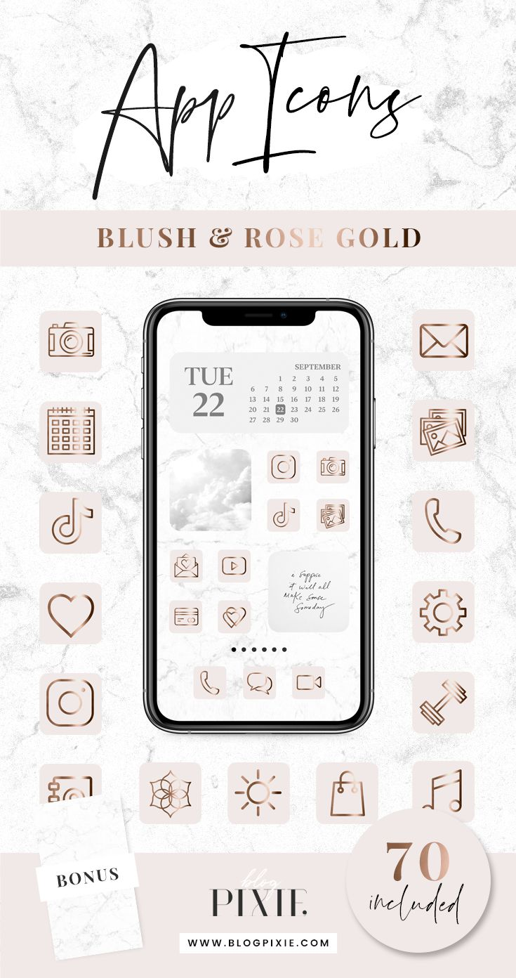 App Icons IOS 14 Pink Rose Gold App Covers IOS 14