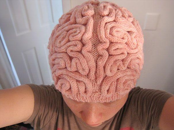 brain hat.  regular hat with i-cord brain.