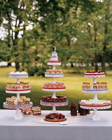Buffet of Sweets    In lieu of a wedding cake, a dessert buffet at the reception is laden with sweets from a favorite local bakery. Extra seating cards are calligraphed with the names of the desserts; patterned paper bands and red and blue cotton ribbon trim the cake stands.
