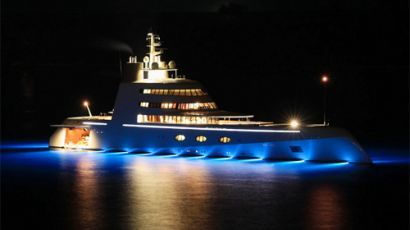 Luxurious Yachts - The ultimate ostentatious display of wealth, mega-yachts (yachts over 200 feet long) allow the world's elite to take their wealth on tour in a way nothing else can, and right now mega-yacht ownership is in the midst of an arms race.