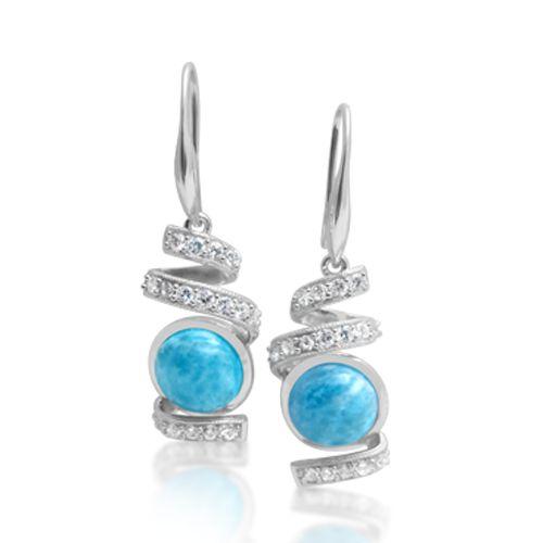 LAURA BONETTI LARIMAR swirl earrings with white topaz. Shop them ONLINE at http://larimar.com/