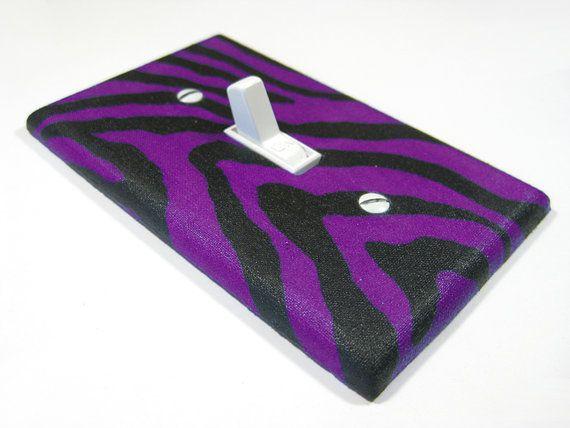 Black and Purple Zebra Stripes Decor Light Switch Cover Teen Girl Bedroom Switchplate 509. $8.00, via Etsy.