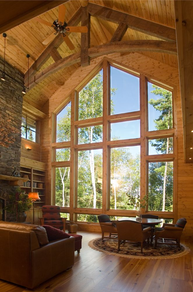 Big wood timber homes there 39 s no place like home Home plans with large windows