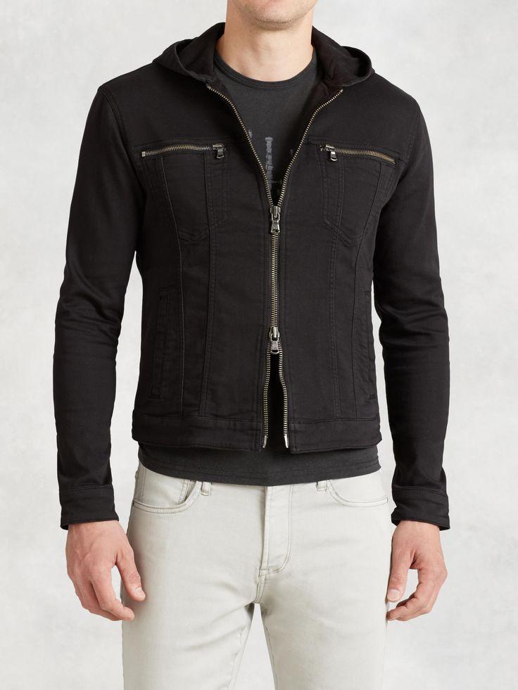 JOHN VARVATOS Hooded Jean Jacket - BLACK. #johnvarvatos #cloth #
