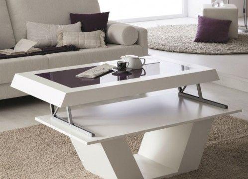 Mesa de centro moderna elevable, lacado blanco con cristal lacobel violeta