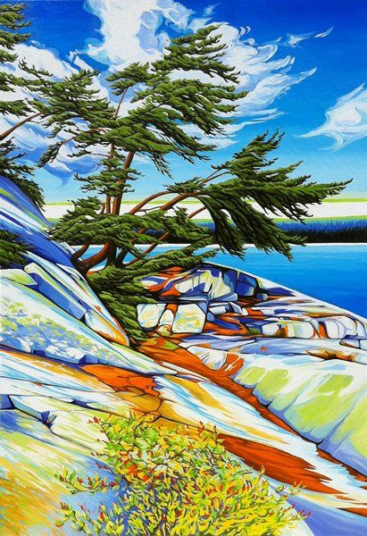 Autumn Fraser Bay No 2, Oil on Canvas, Size: 24 inches x 36 inches, SOLD - Margarethe Vanderpas