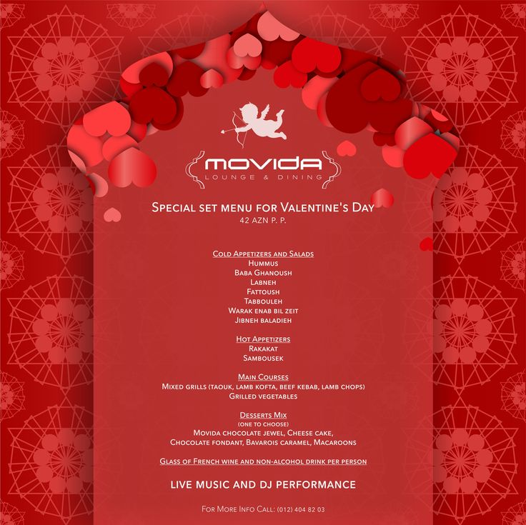 In @movida0753 everyone is totally ready to make your romantic dinner on the Valentine's Day even more special! Here is our set menu offer. You can reserve a table even right now: (012) 404 82 03 ‪#‎movida‬ ‪#‎lounge‬ ‪#‎dining‬ ‪#‎valentinesday‬ ‪#‎valentines‬ ‪#‎day‬ ‪#‎food‬ ‪‪#‎romance‬ ‪#‎romantic‬ ‪#‎date‬ ‪#‎love‬ ‪#‎dinner‬ ‪#‎special‬ ‪#‎setmenu‬ ‪#‎set‬ ‪#‎menu‬ ‪#‎offer‬