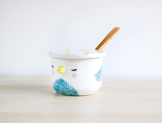 Super cute sugar bowl with lid and spoon  Pottery by noemarin