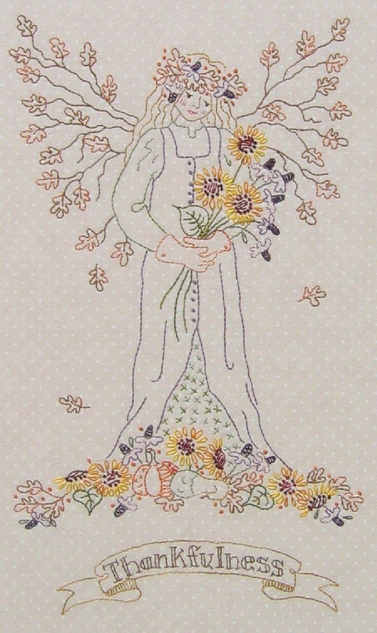 "Hand Embroidery Pattern - Gardener's Angel of Autumn ""Thankfulness"" - Crabapple Hill Studio"