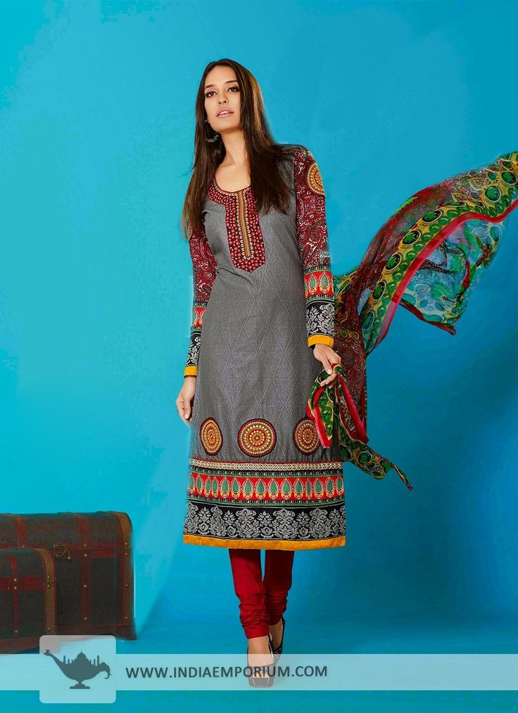 Gray Tantalizing Cotton Churidar #Suit With Patch Work  #Bollywood  #BollywoodFashion