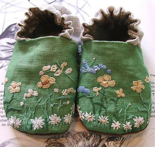 Green Linen Shoes by Tiny Happy (Melissa Wastney) http://www.flickr.com/photos/8832675@N06/