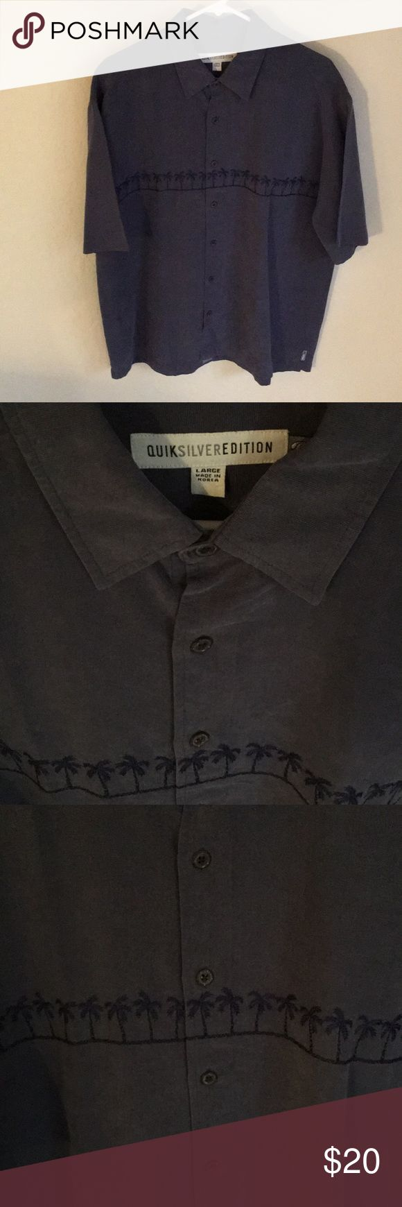 Quicksilver Button Up In Excellent Condition! Quicksilver Button Up In Excellent Condition! Nice lighter blue with navy blue palm trees embroidered along the chest. Beautiful Shirt! Great for warm climate & tropical events! From my hubby's collection. quicksilver Shirts Casual Button Down Shirts