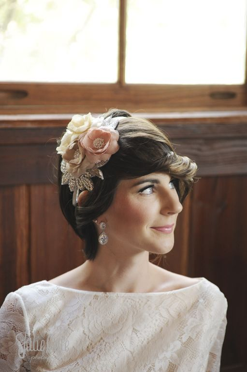 Blush and Ivory Dupioni Silk Mini Hat with Sparkle Handmade Floral Bridal Accessory on Etsy, $165.00