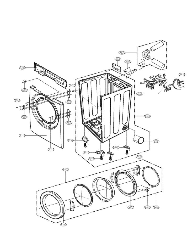 CABINET AND DOOR ASSEMBLY PARTS Diagram & Parts List for Model DLE2140W LG-Parts Dryer-Parts | SearsPartsDirect
