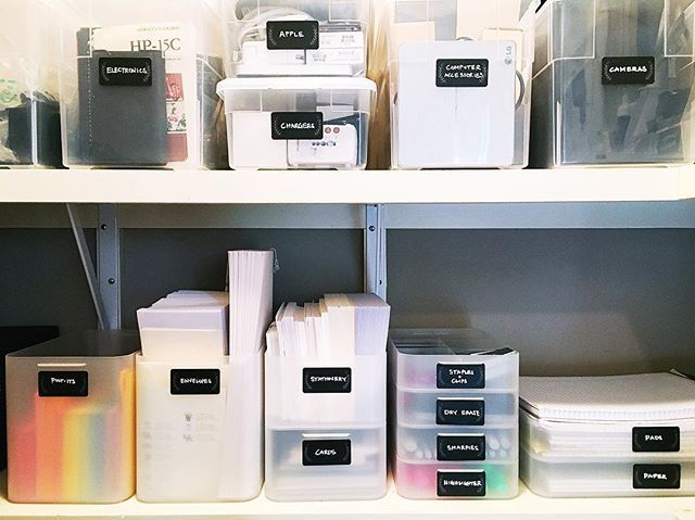 Office supply closet solutions: Bins for computer accessories, Apple items, stationery, and color-coordinated post-its.  #thehomeedit #office #closet #organization
