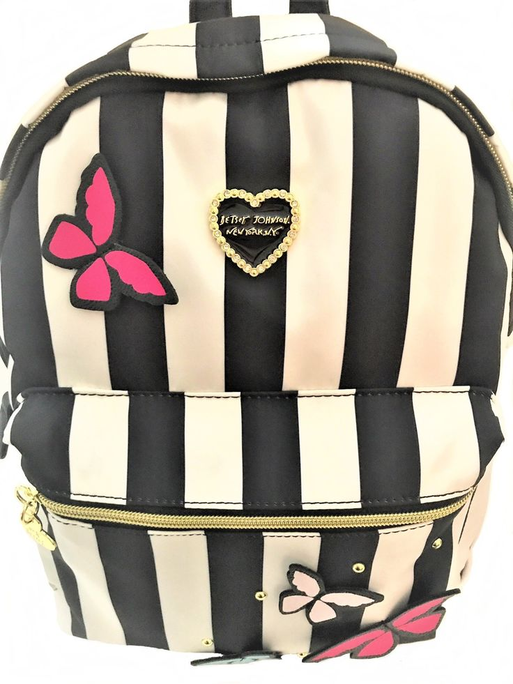 Betsey Johnson Designer Striped Backpack Adorned with Butterfly Appliques