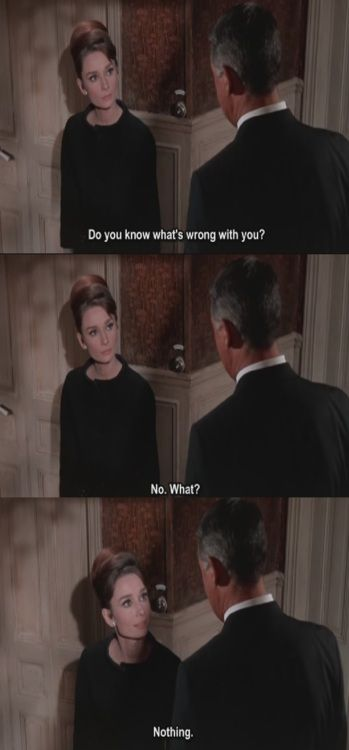 Charade - Audrey Hepburn and Cary Grant~I love this movie, I love these two and how cute she is. you know someone is your best guy friend when they say this to you every time u have a mini heart attack