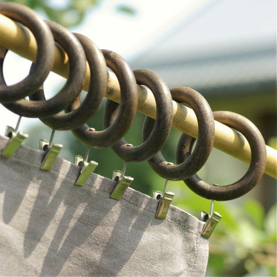 Wood Curtain Rings With Metal Clips Curtain Rode Rings Brown