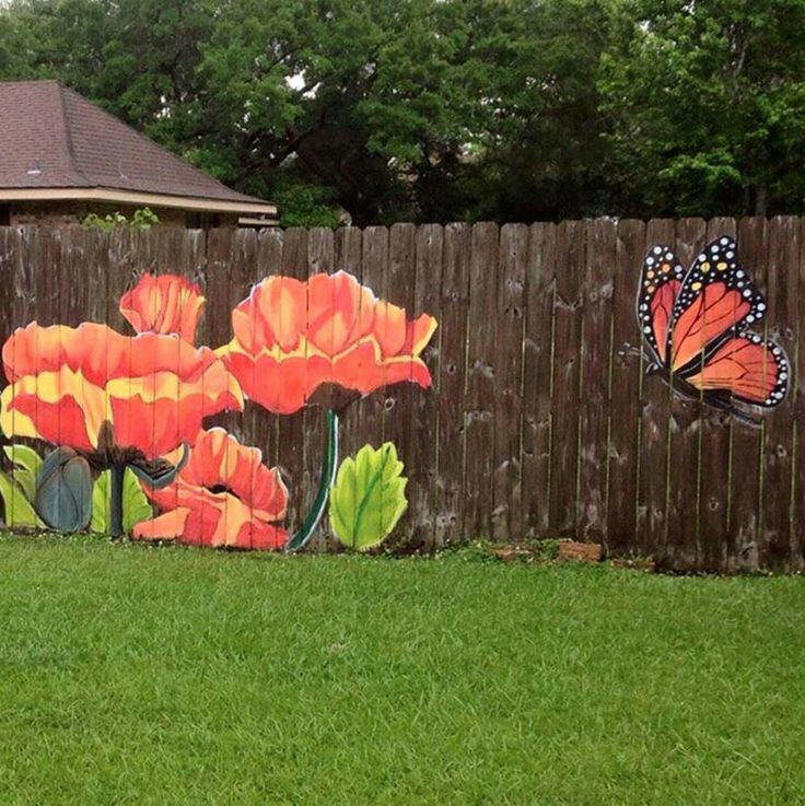 17 best ideas about fence painting on pinterest fence for Backyard mural ideas