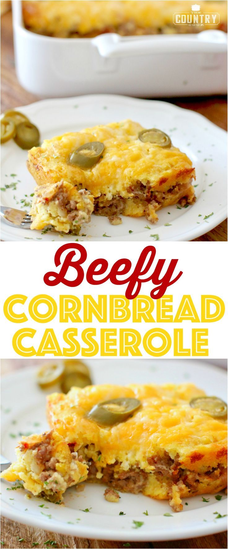 Beefy Cornbread Casserole Recipe from The Country Cook and a FREE Cookbook download!! This casserole is full of seasoned ground beef with salsa and cornbread mix with melty cheese. So good!