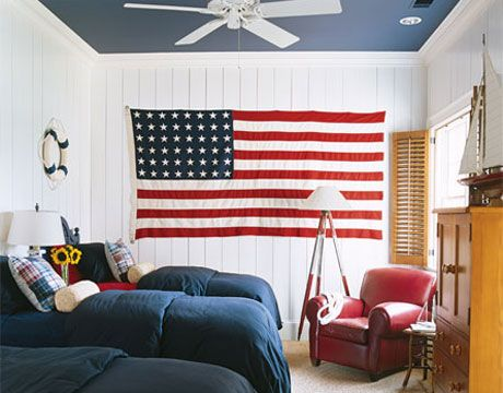 The flag adds a bold graphic but this room wouldn't be nearly as pleasing if the ceiling was white.  I love the navy blue on the ceiling of the room designed by Suzanne Kasler.