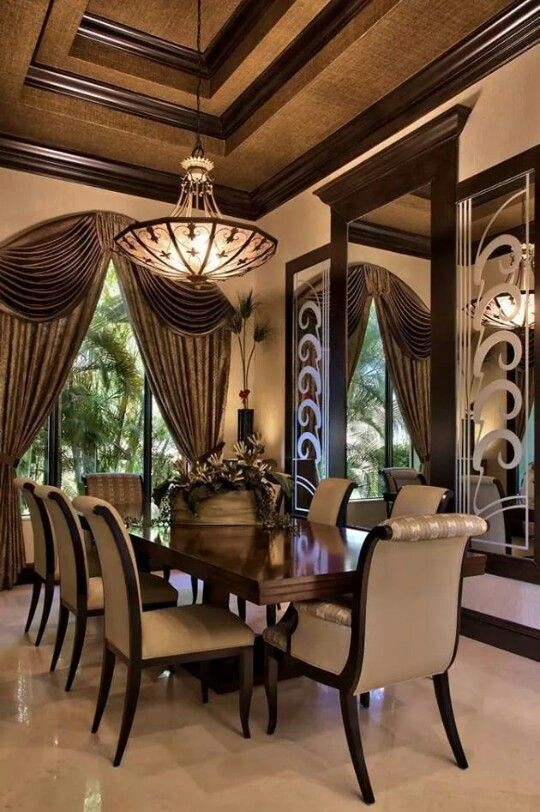 Tuscan Dining Room With A Beautiful Tray Ceiling