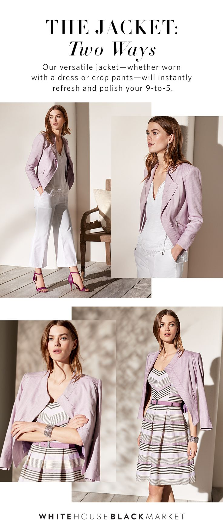 Our office-ready linen moto jacket has the best of both worlds for your summer wardrobe: Lightweight fabric and a neutral color palette. This effortless jacket made of breathable linen in a colorful, yet neutral hue will brighten and bring versatility to your office wardrobe. | White House Black Market