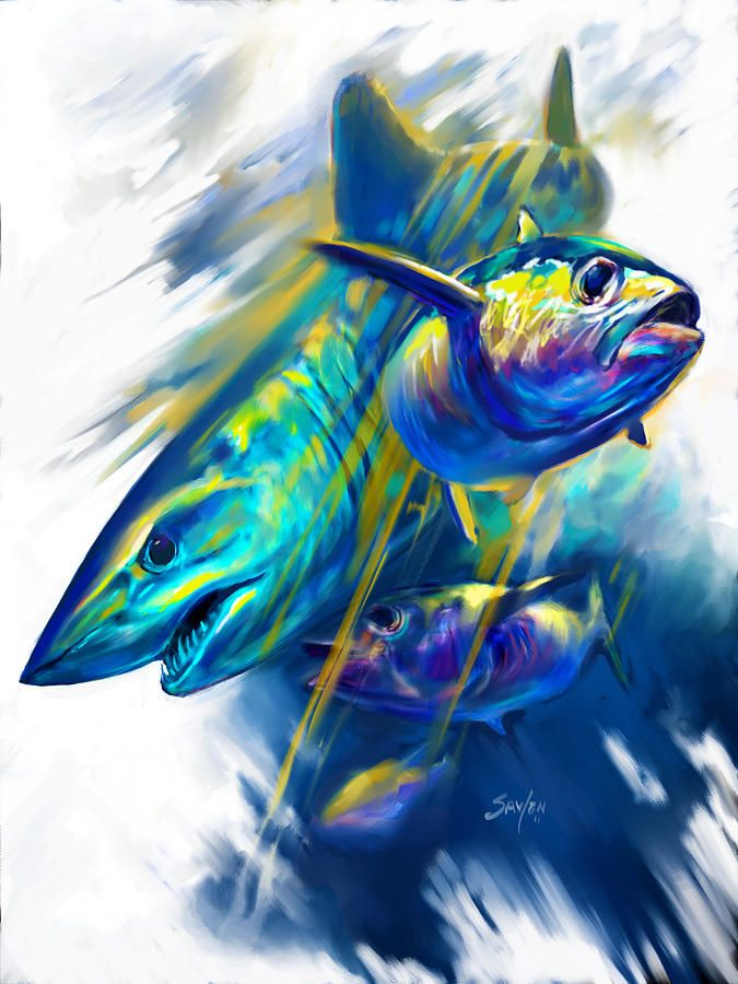 91 best images about art of mike savlen on pinterest for Paintings of fish