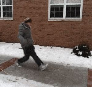Just a little bit of ice made this guy into a professional break-dancer