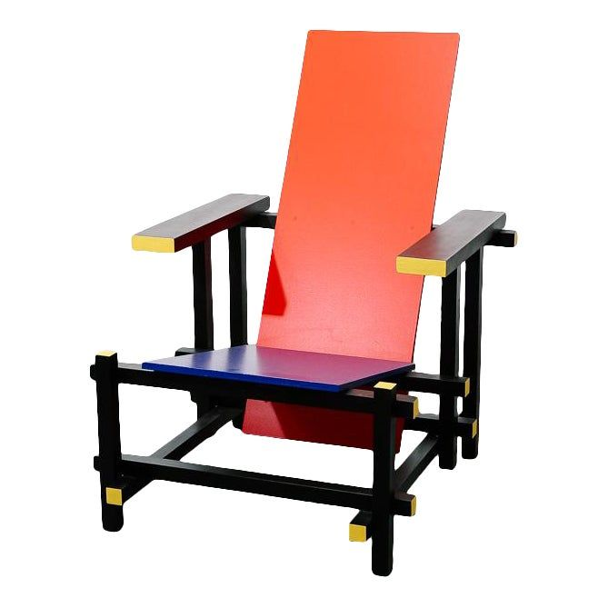Red And Blue Chair By Gerrit Rietveld In 2020 Blue Chair Chair Custom Wood Furniture