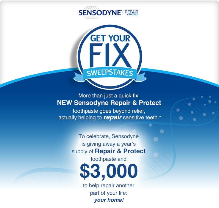 Enter the Sensodyne Get Your Fix Sweepstakes to win $3,000 to help repair your home plus a year's supply of Repair