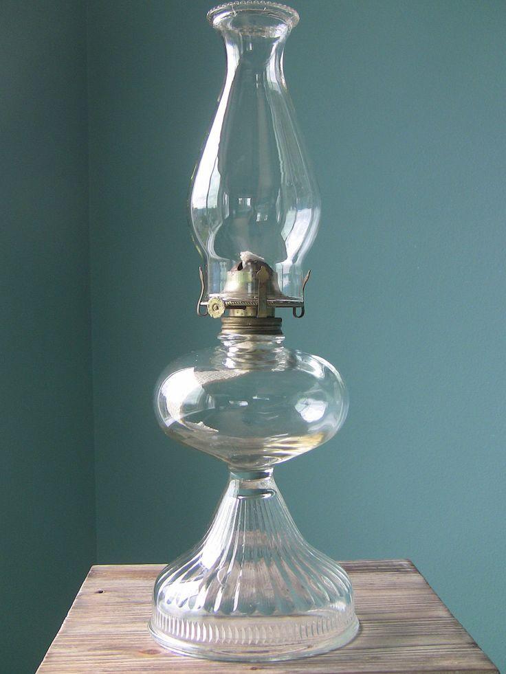 antique lamps | Large Vintage Oil Lamp-Hurricane Lamp-Antique Glass Lamp