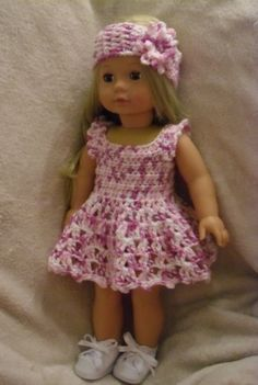 Crochet pattern for dress and headband for 18 inch by petitedolls, £2.50