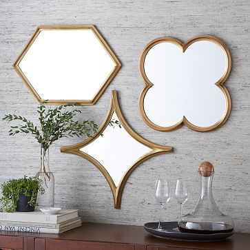 "$99 each :(  Quatrefoil: 16""w x 1""d x 18""h. Irregular Hexagon: 14.75""w x .75""d x 22""h. Curved Diamond: 22""w x .75""d x 22""h.Monte Mirrors"