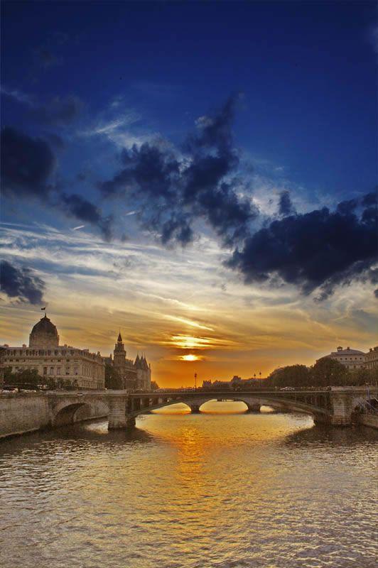 Sunset and the river Seine, Paris