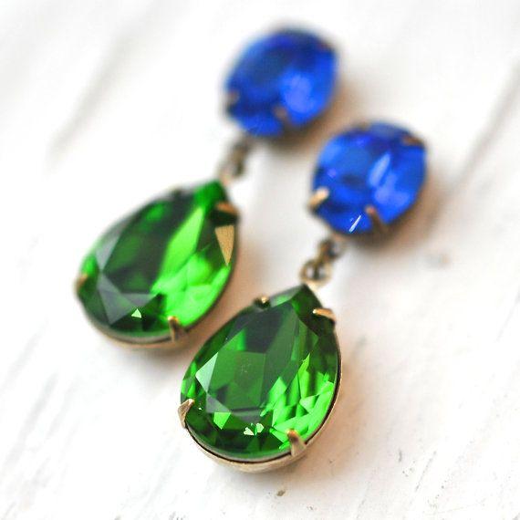 Sapphire Kelly Green Earrings Swarovski Crystal by MASHUGANA