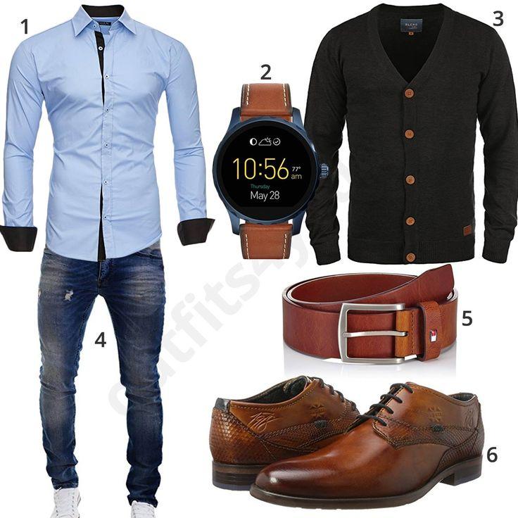 Business-Look mit hellblauem Kayhan Hemd, Fossil Q Smartwatch, Blend Strickjacke, Merish Jeans, Tommy Hilfiger Ledergürtel und Bugatti Schuhen.